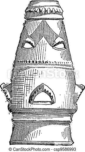 Chimney, vintage engraving - csp9586993