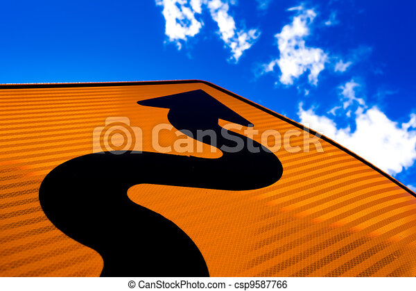 Wavy arrow on road sign pointing up for success - csp9587766