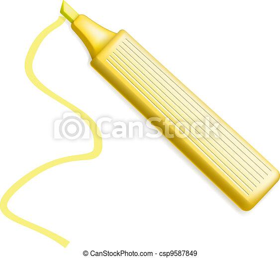 Yellow Highlighter Pen. Marker - csp9587849