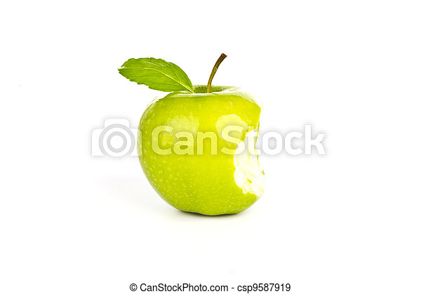 Fresh green apple with a bite isolated on white background - csp9587919