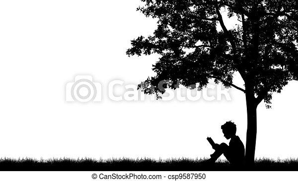 Silhouettes of children read book under tree - csp9587950