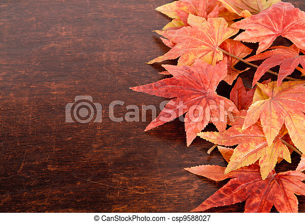Artificial maple leafs over old wood background - csp9588027