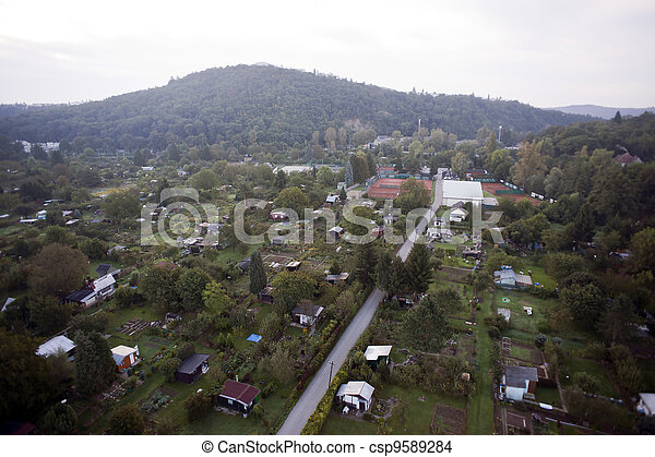 Highly detailed aerial city view with crossroads, roads, factories, houses, parks, parking lots, bridges, Brno, Czech Republic - csp9589284