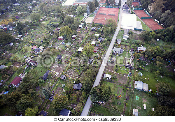 Highly detailed aerial city view with crossroads, roads, factories, houses, parks, parking lots, bridges, Brno, Czech Republic - csp9589330