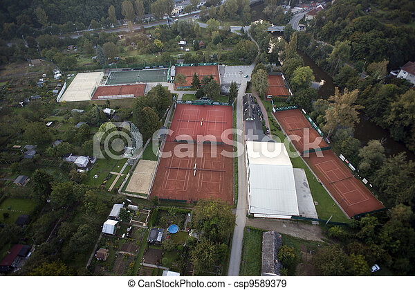 Highly detailed aerial city view with gardens, tennis courts, river, bridges, sport center, Brno, Czech Republic - csp9589379