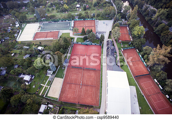 Highly detailed aerial city view with gardens, tennis courts, river, bridges, sport center, Brno, Czech Republic - csp9589440