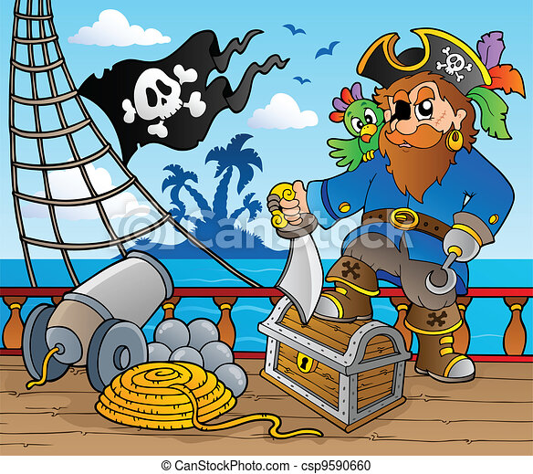 Vector Clipart of Pirate ship deck theme 2 - vector illustration ...