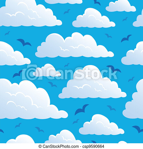 Seamless background with clouds 7 - csp9590664