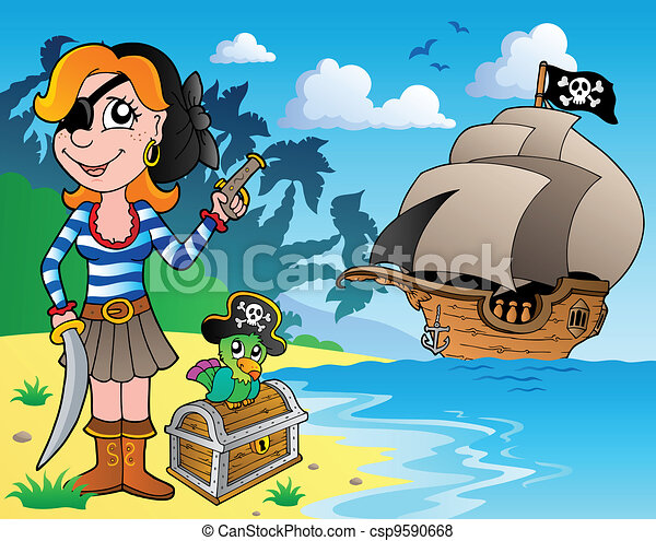 Pirate girl on coast 1 - csp9590668