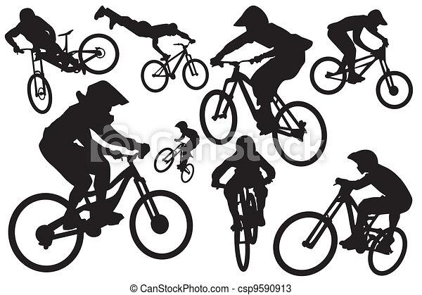 Cyclist silhouettes - csp9590913