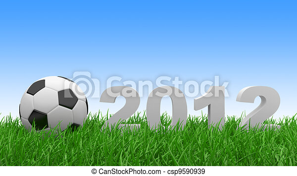 Soccer ball on green grass. 2012 - csp9590939