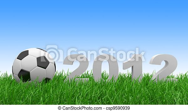 Soccer ball on green grass. 2012 - csp9590939