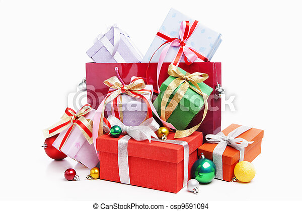 Pile of Christmas present with shopping bag - csp9591094