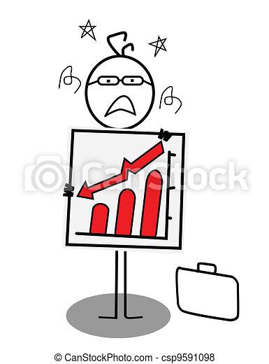 businessman down chart  - csp9591098