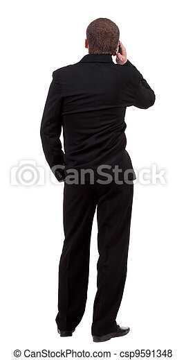 back  view people collection. Rear view of business man in black suit  talking on mobile phone.  Isolated over white background. backside view of person. - csp9591348