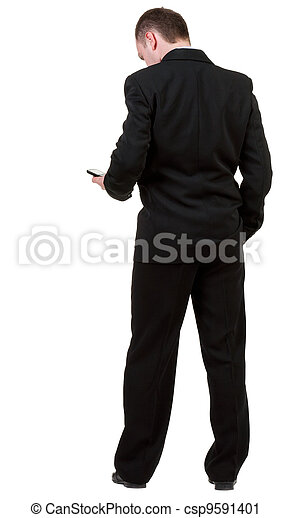 back view of business man in black suit  talking on mobile phone.    rear view people collection. Isolated over white background. backside view of person.  - csp9591401