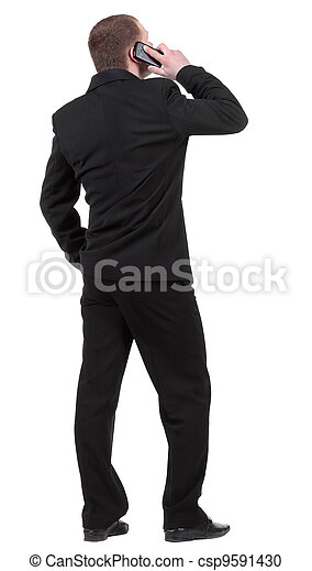 back  view people collection. Rear view of business man in black suit  talking on mobile phone.  Isolated over white background. backside view of person.  - csp9591430