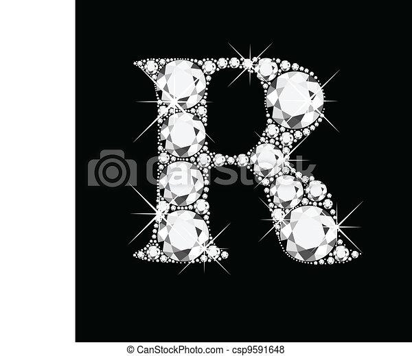 R Letter In Black Diamonds Vector of R letter wit...