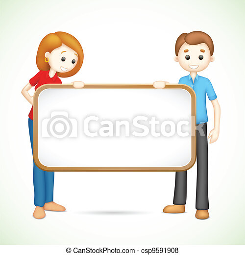 Happy 3d Couple in Vector holding Placard - csp9591908