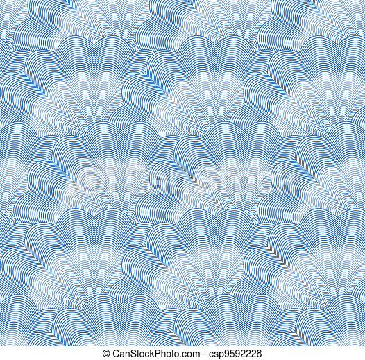 Seamless monochrome blue pattern. Vector - csp9592228