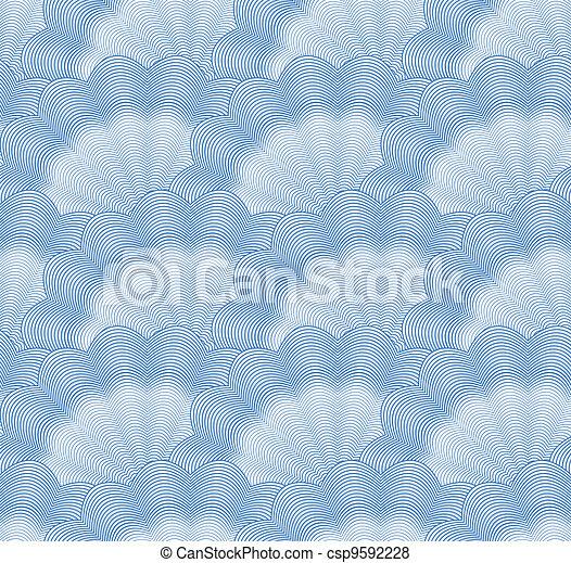 Seamless monochrome blue pattern. Vector - csp9592228