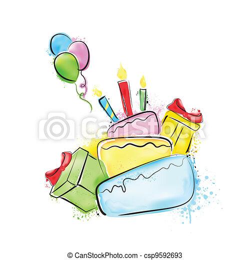 Happy Birthday Painting - csp9592693