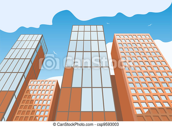 High skyscrapers on a background of the blue sky - csp9593003
