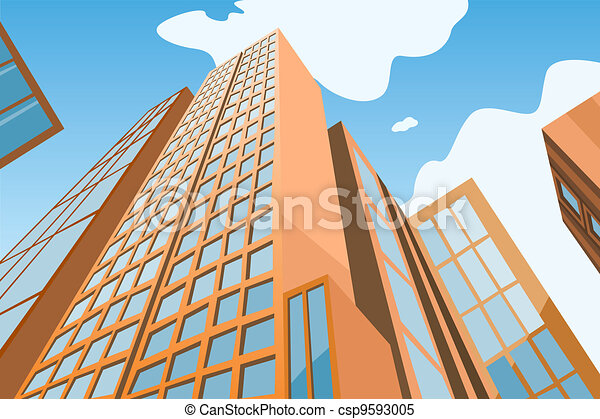 High skyscrapers on a background of the blue sky - csp9593005