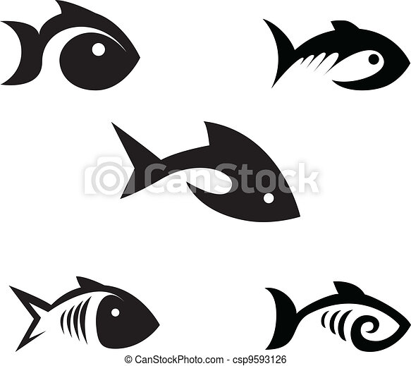 Clip art vecteur de stylis poissons diff rent options de les stylis csp9593126 - Dessin poisson stylise ...