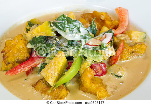 Thai Fried Salmon Fish Pumpkin Curry Closeup - csp9593147