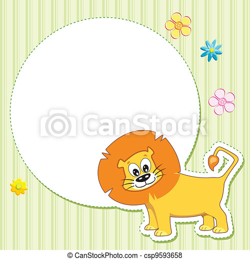 Lion on Baby Card - csp9593658