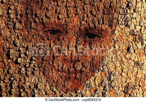 Bark Faced Boy in Tree