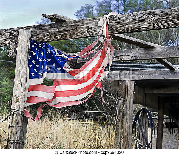 American Flag in Tatters - csp9594320