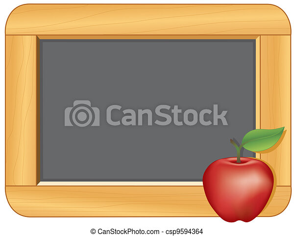 Blackboard with Wood Frame, Apple - csp9594364