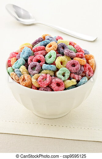kids delicious and nutritious cereal loops or fruit cereal - csp9595125