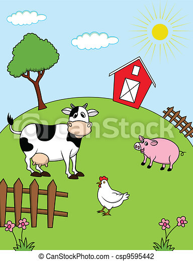 Illustrazioni vettoriali di fattoria animali vettore for Piani di fattoria tedesca