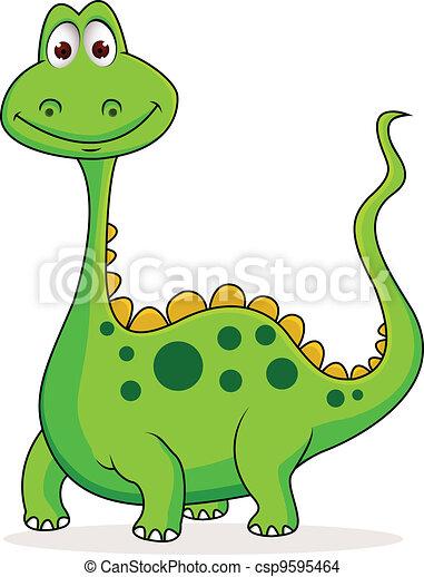 Vectpor, Illustration, de, mignon, vert, Dinosaure, dessin animé