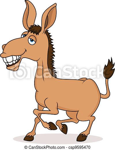 Smiling donkey cartoon  - csp9595470