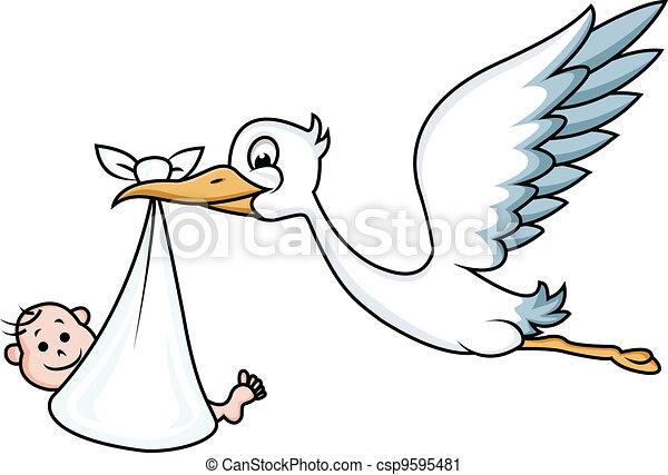 Stork with baby  - csp9595481