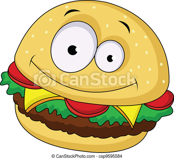 Burger cartoon character - csp9595584