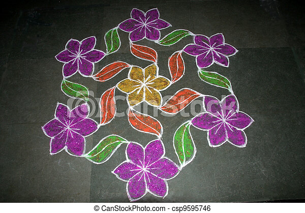 Floral Rangoli Design - csp9595746