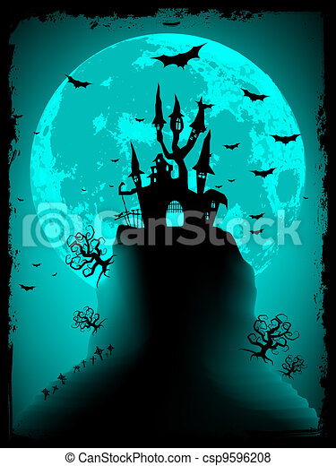 Scary halloween vector with magical abbey. EPS 8 - csp9596208
