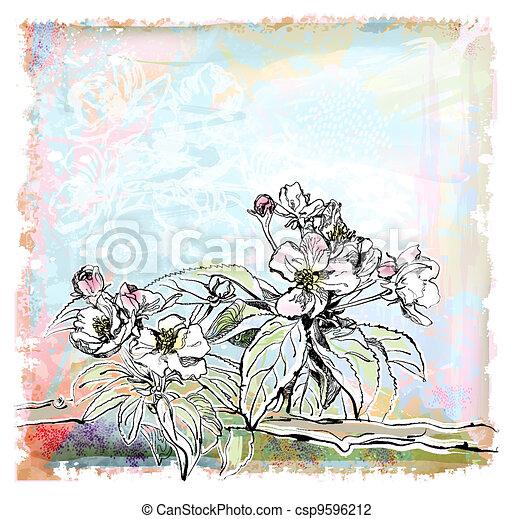 sketch of apple tree in bloom - csp9596212