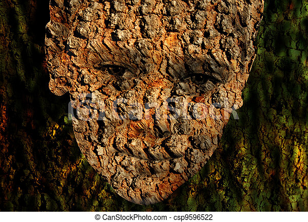 Bark Faced Boy in Tree Green Background