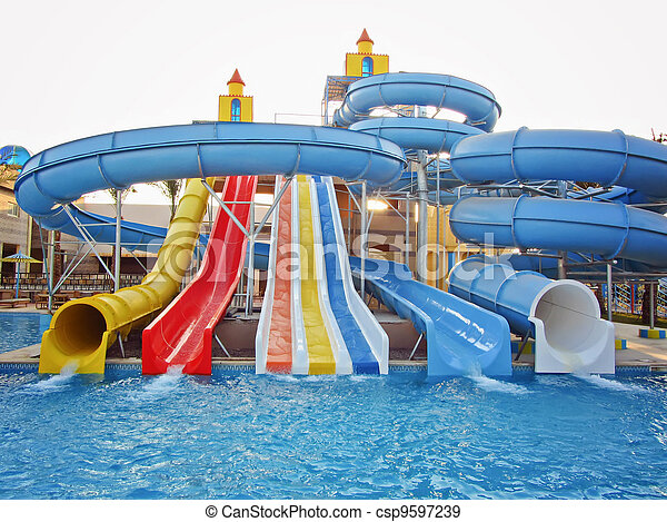 Aquapark sliders, aqua park, water  - csp9597239