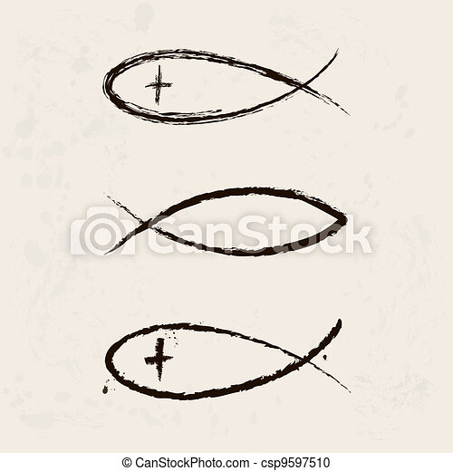 Christian religion symbol fish - csp9597510