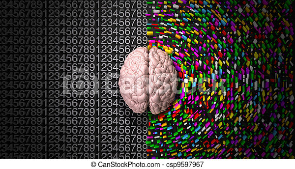 A typical brain with the left side depicting an analytical, structured and logical mind, and the right side depicting a scattered, creative and colorful side. - csp9597967