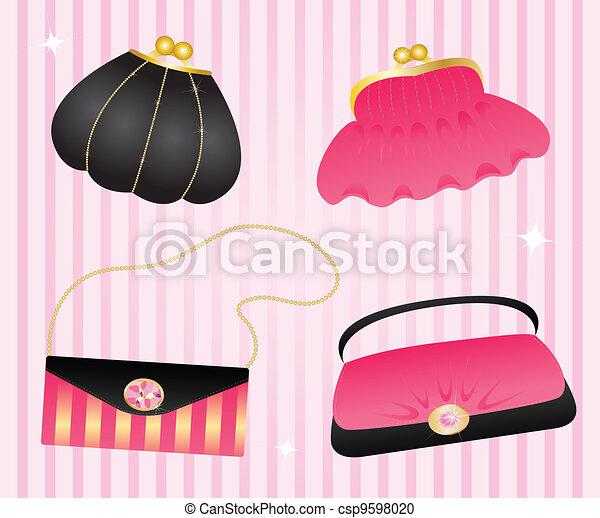vektor clipart von handtaschen satz von elegant handtaschen csp9598020 suchen sie clip. Black Bedroom Furniture Sets. Home Design Ideas