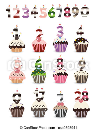 Vector Clip Art Of Cupcake For Birthday With Number
