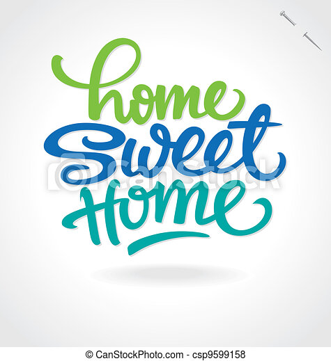 'home sweet home' hand lettering - csp9599158